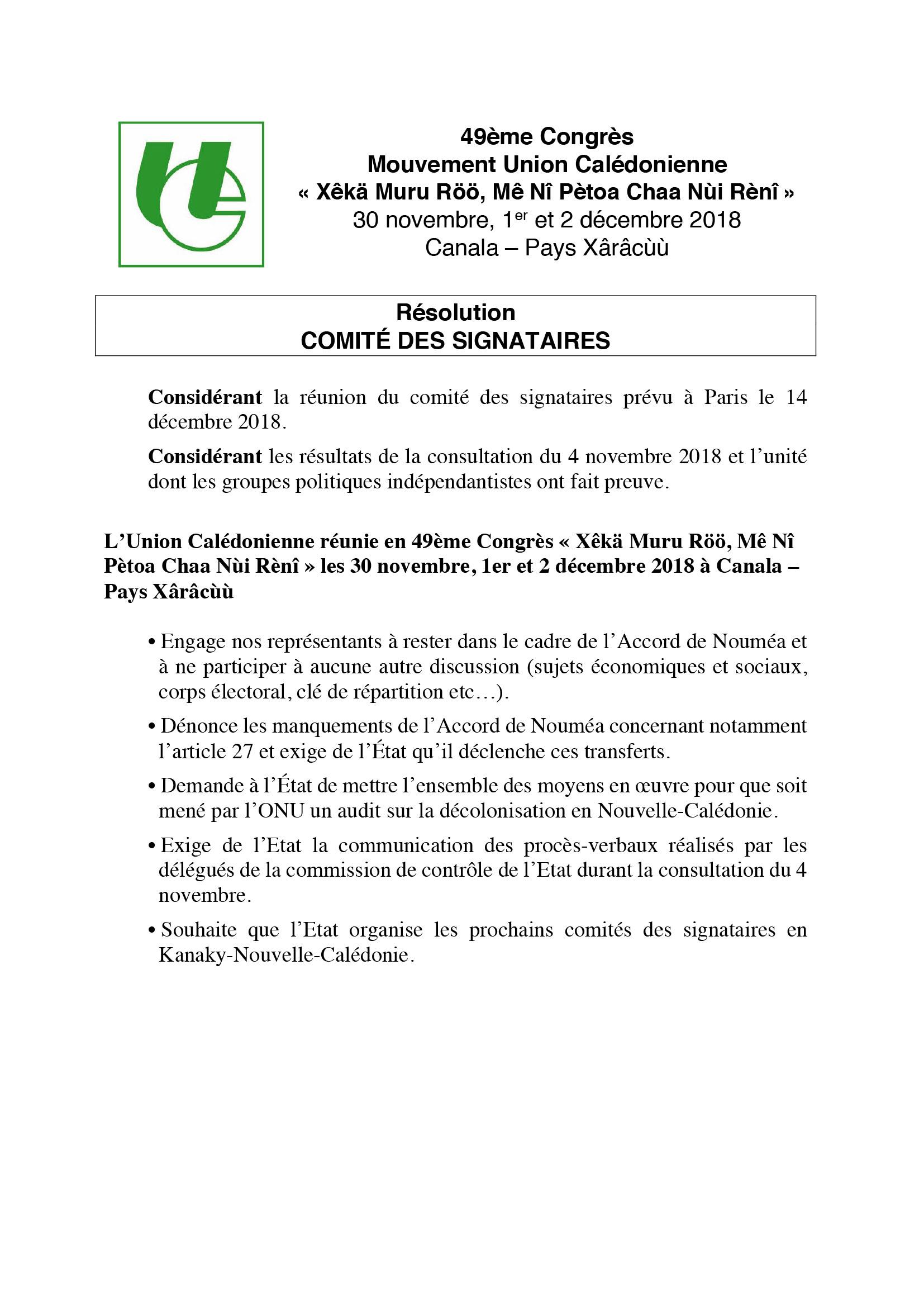 Résolution Comité des signataires