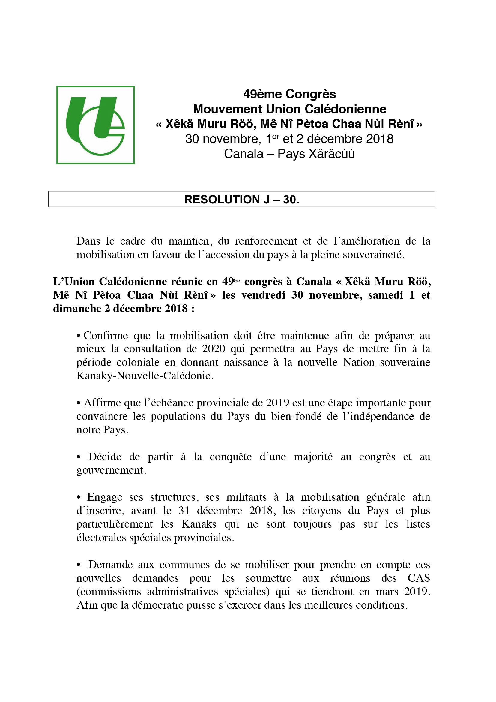 Résolution J-30