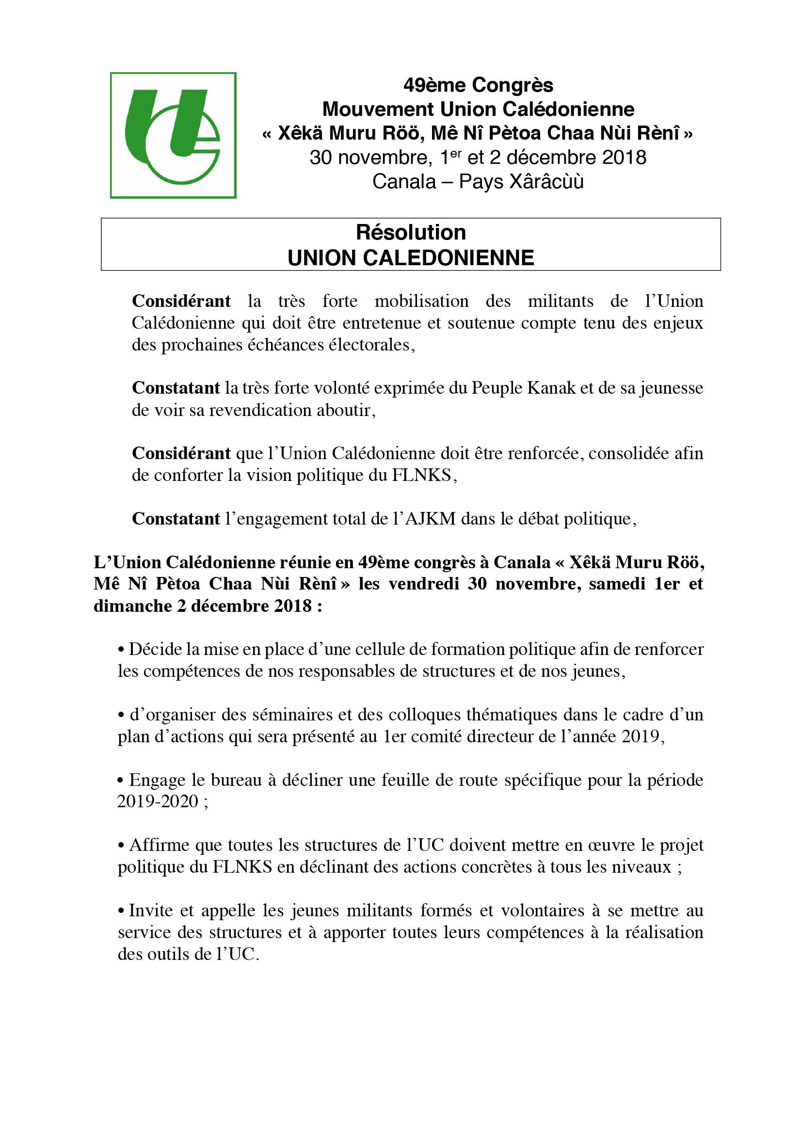 Résolution Union Calédonienne